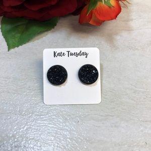 5/$20 Black Druzy Round Stud Earrings, New
